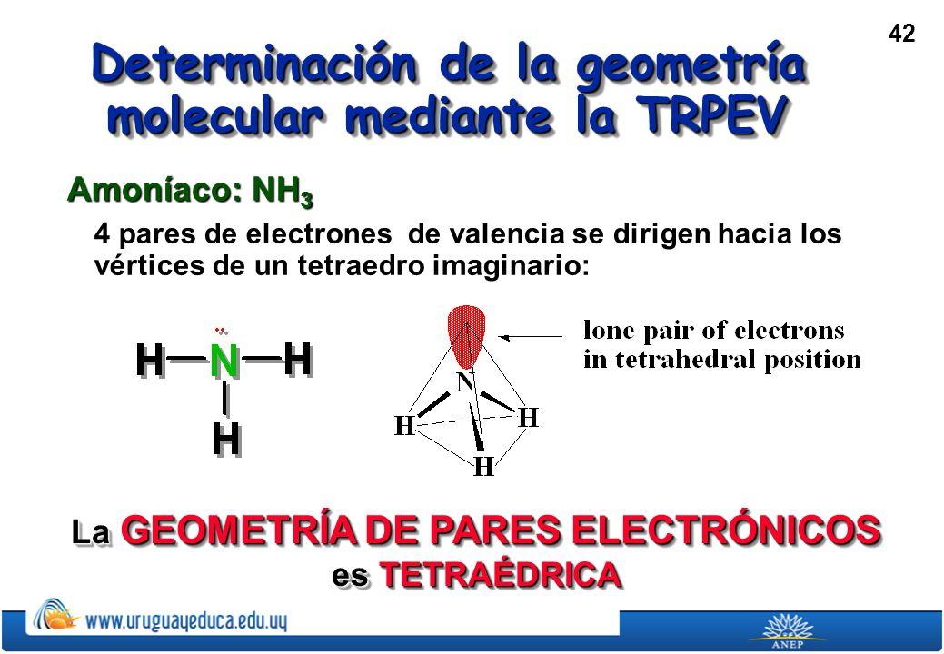 42 Determinación de la geometría molecular mediante la TRPEV Amoníaco: NH 3 4 pares de electrones de valencia se dirigen hacia los vértices de un tetraedro imaginario: La GEOMETRÍA DE PARES ELECTRÓNICOS es TETRAÉDRICA