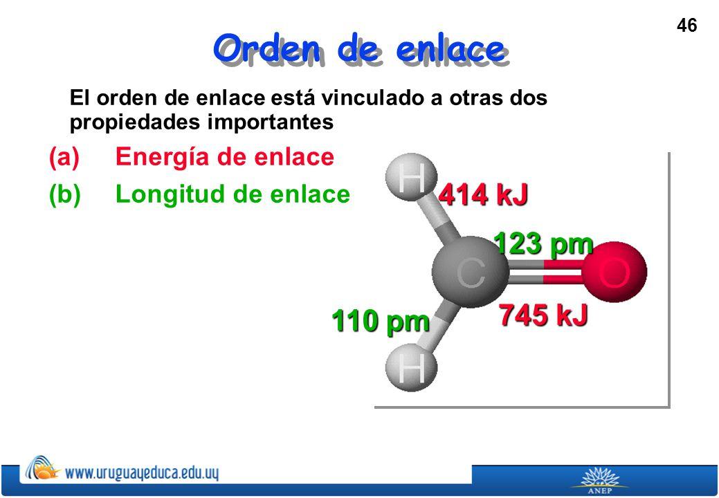 46 Orden de enlace El orden de enlace está vinculado a otras dos propiedades importantes (a) Energía de enlace (b)Longitud de enlace 745 kJ 414 kJ 110 pm 123 pm