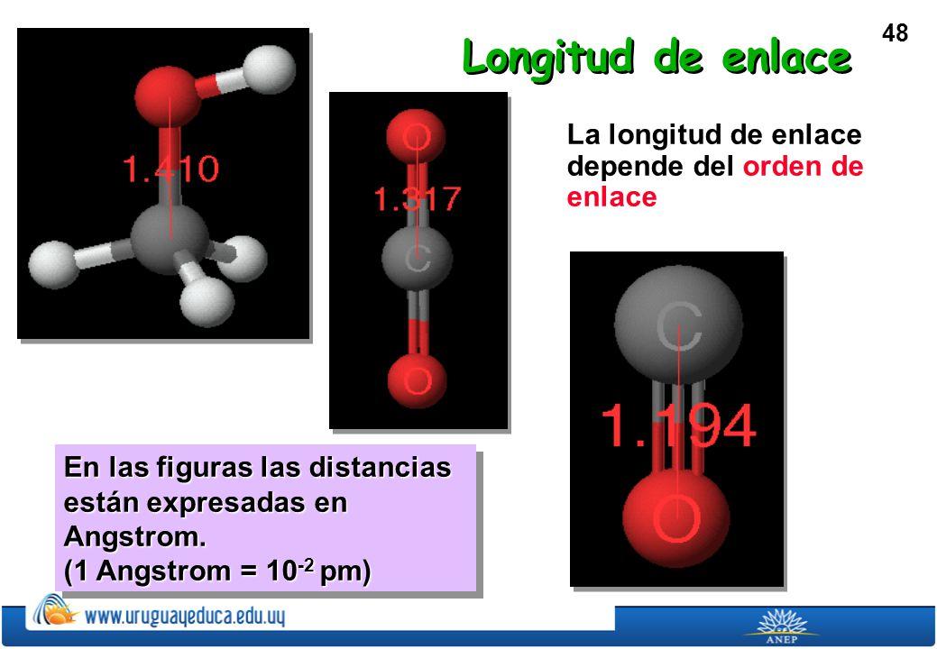 48 La longitud de enlace depende del orden de enlace En las figuras las distancias están expresadas en Angstrom.