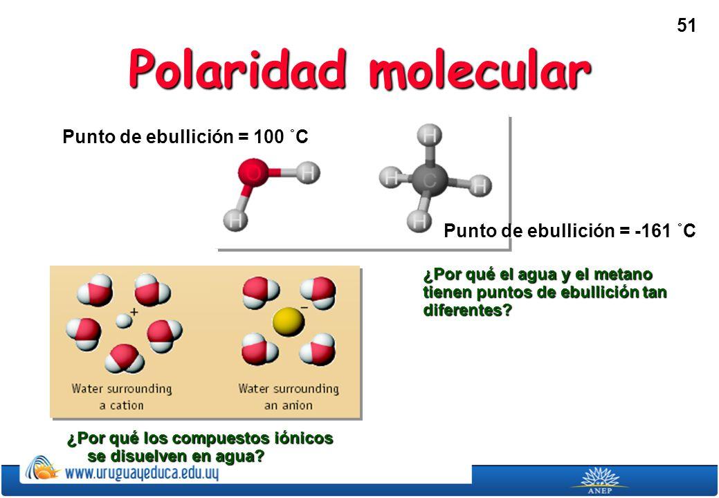 51 Polaridad molecular ¿Por qué los compuestos iónicos se disuelven en agua.