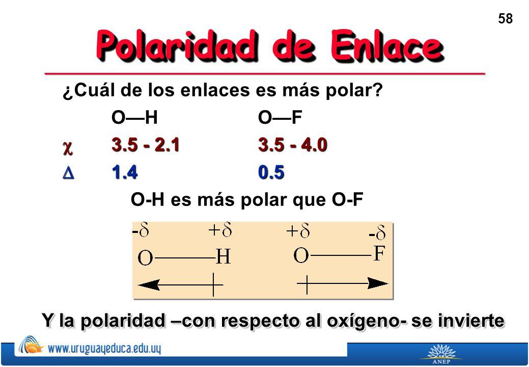 58 Polaridad de Enlace ¿Cuál de los enlaces es más polar.