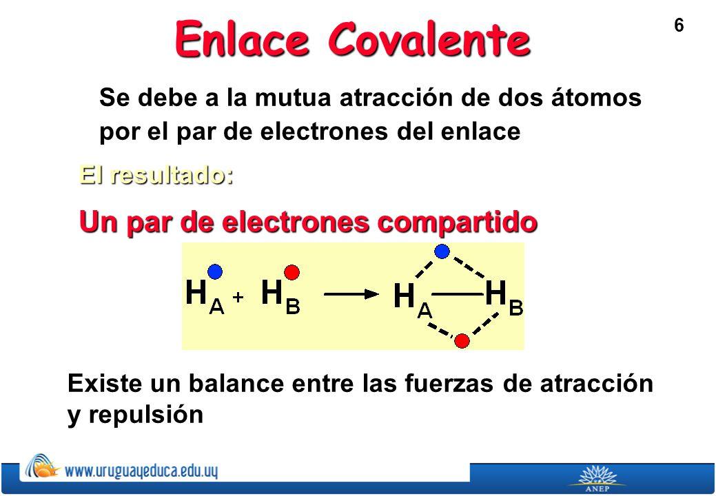 6 Enlace Covalente Se debe a la mutua atracción de dos átomos por el par de electrones del enlace El resultado: Un par de electrones compartido Existe un balance entre las fuerzas de atracción y repulsión