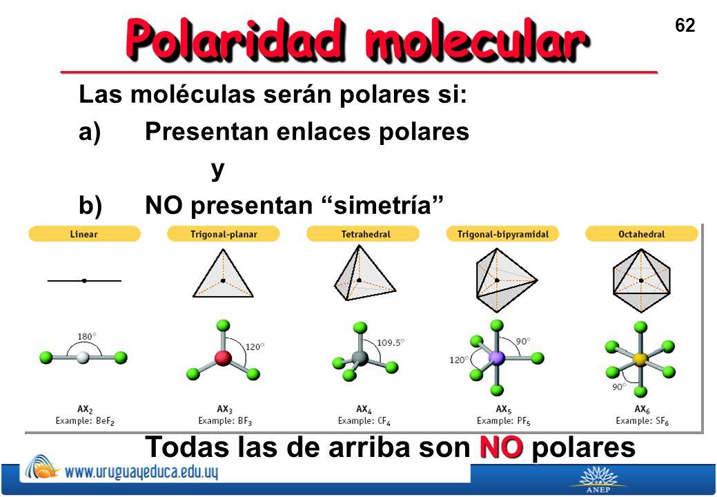 62 Polaridad molecular Las moléculas serán polares si: a)Presentan enlaces polares y b)NO presentan simetría Todas las de arriba son NO polares