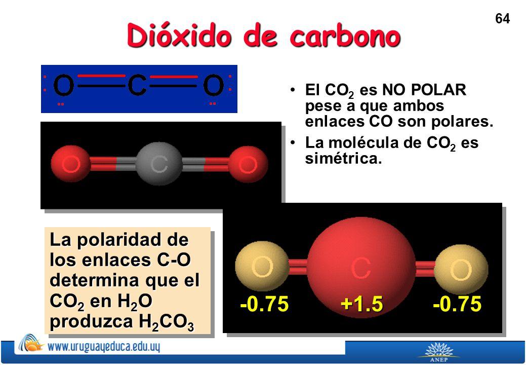 64 Dióxido de carbono El CO 2 es NO POLAR pese a que ambos enlaces CO son polares.El CO 2 es NO POLAR pese a que ambos enlaces CO son polares.