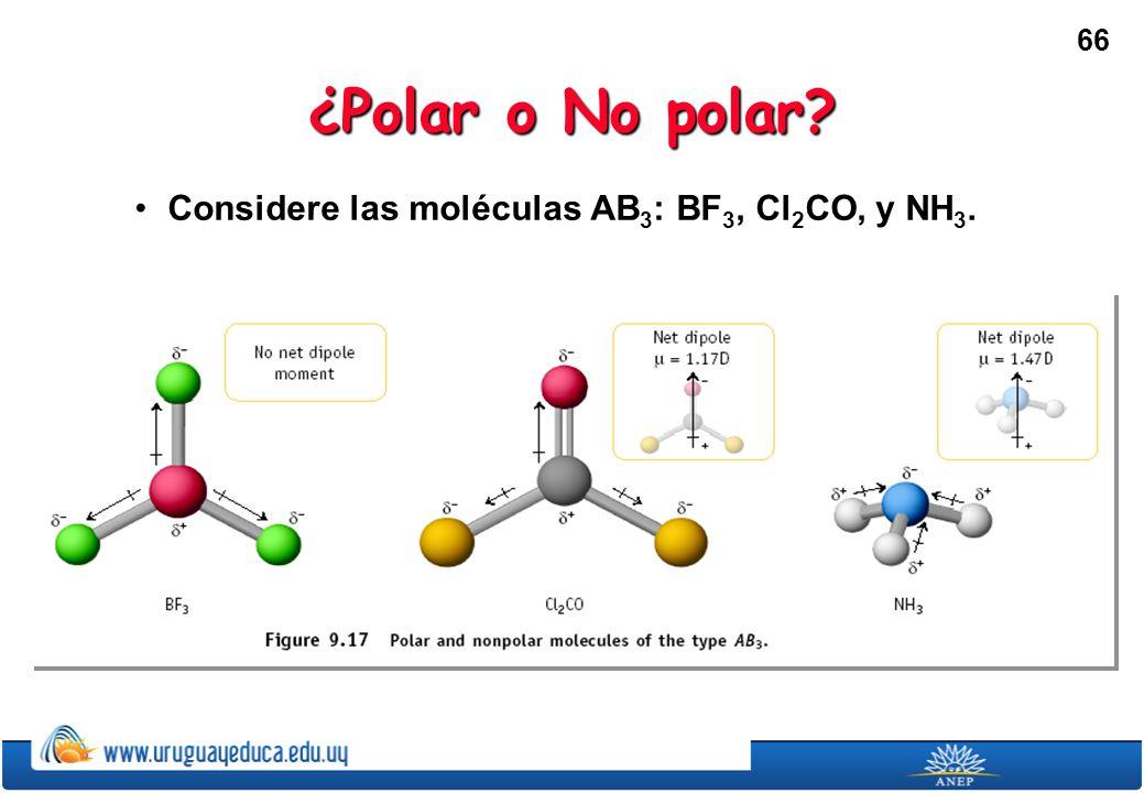 66 ¿Polar o No polar? Considere las moléculas AB 3 : BF 3, Cl 2 CO, y NH 3.