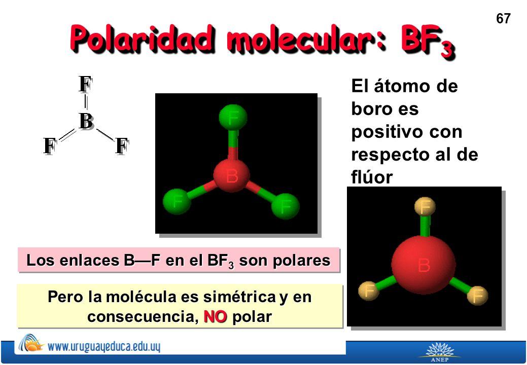 67 Polaridad molecular: BF 3 El átomo de boro es positivo con respecto al de flúor Los enlaces BF en el BF 3 son polares Pero la molécula es simétrica y en consecuencia, NO polar