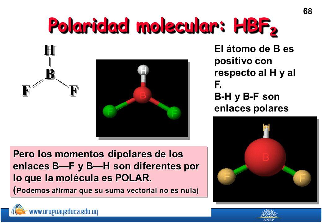 68 Polaridad molecular: HBF 2 El átomo de B es positivo con respecto al H y al F.