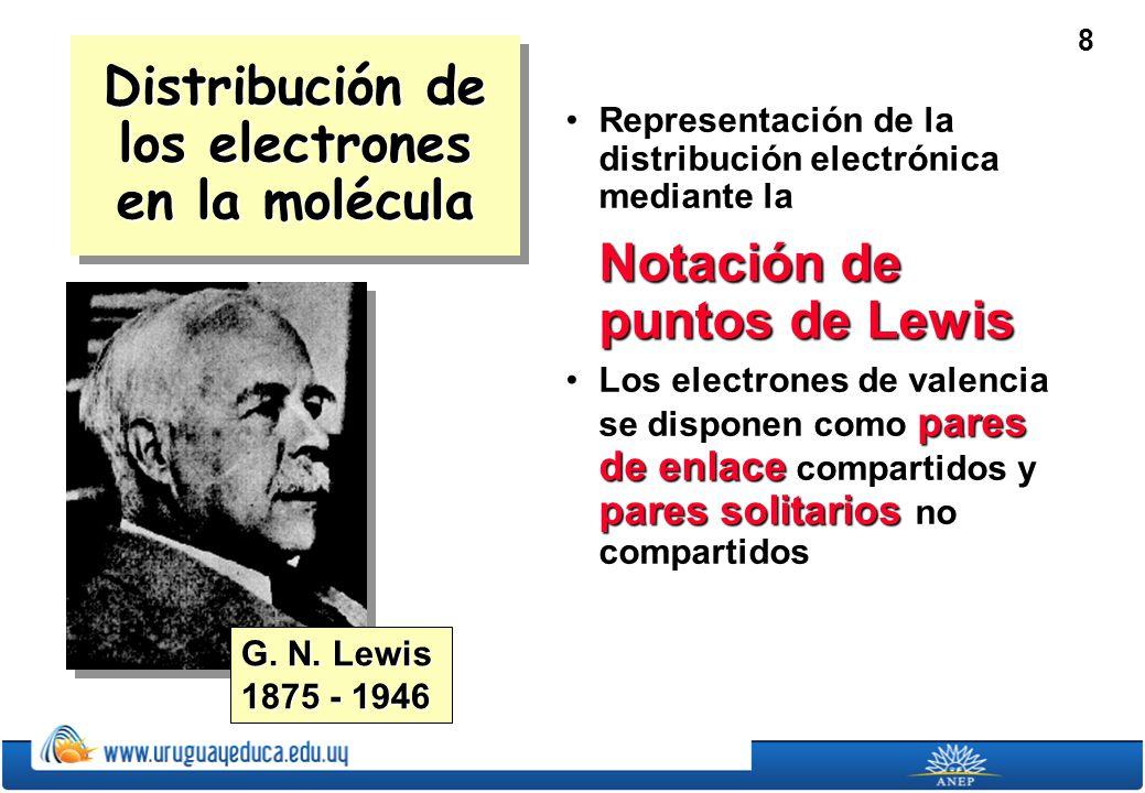8 Distribución de los electrones en la molécula Representación de la distribución electrónica mediante laRepresentación de la distribución electrónica mediante la Notación de puntos de Lewis Los electrones de valencia se disponen como pares de enlace compartidos y pares solitarios no compartidosLos electrones de valencia se disponen como pares de enlace compartidos y pares solitarios no compartidos G.
