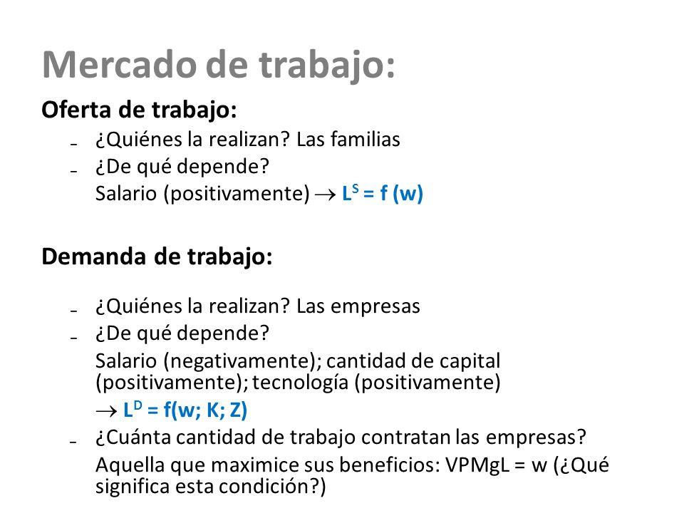 Mercado de trabajo: Oferta de trabajo: ¿Quiénes la realizan? Las familias ¿De qué depende? Salario (positivamente) L S = f (w) Demanda de trabajo: ¿Qu