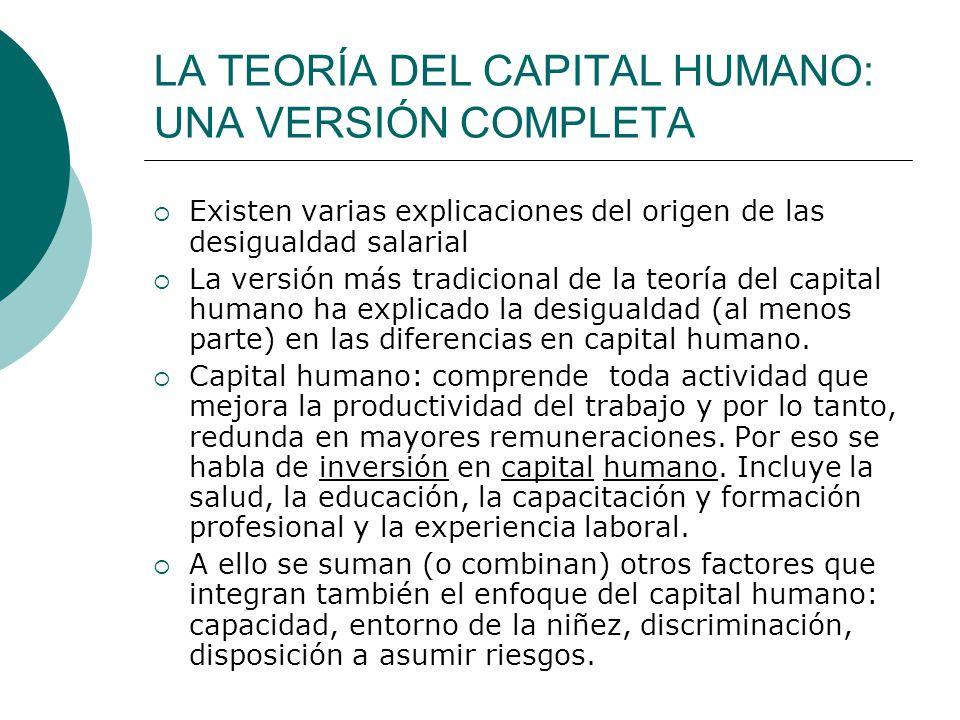 LA TEORÍA DEL CAPITAL HUMANO: UNA VERSIÓN COMPLETA Existen varias explicaciones del origen de las desigualdad salarial La versión más tradicional de l