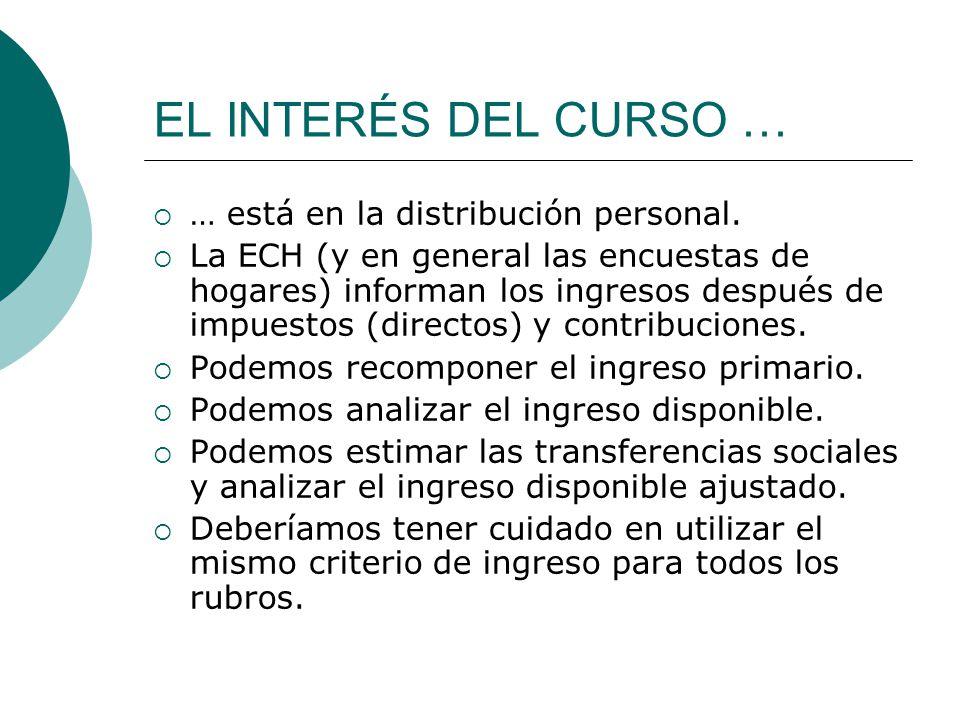 EL INTERÉS DEL CURSO … … está en la distribución personal. La ECH (y en general las encuestas de hogares) informan los ingresos después de impuestos (