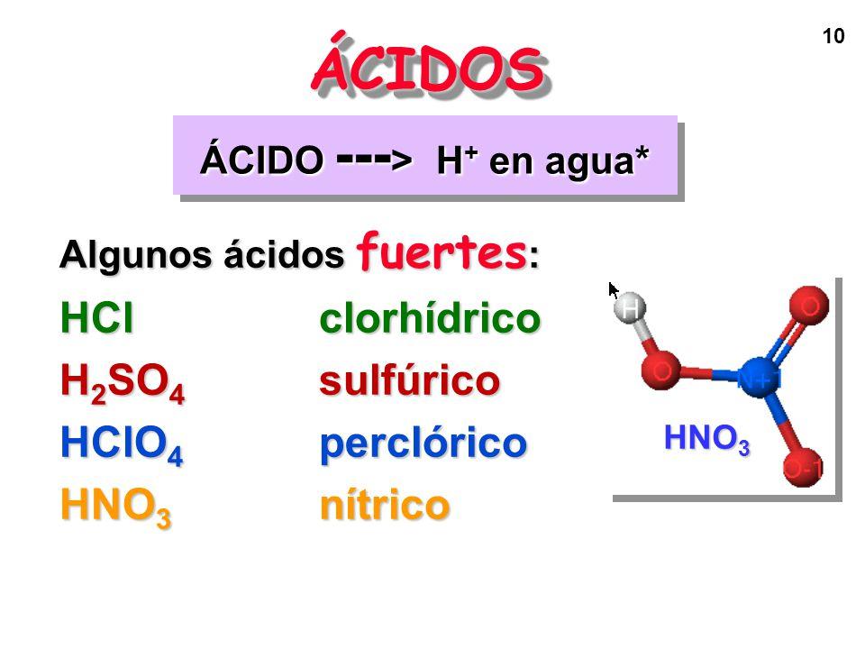 10 ÁCIDO --- > H + en agua* ÁCIDOSÁCIDOS Algunos ácidos fuertes : HClclorhídrico H 2 SO 4 sulfúrico HClO 4 perclórico HNO 3 nítrico HNO 3