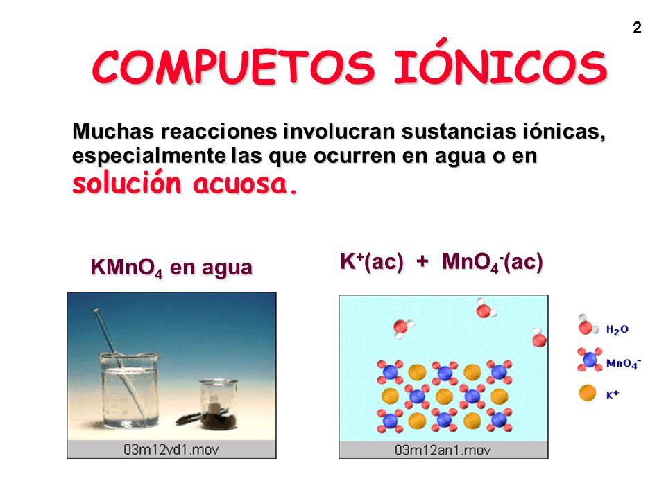 2 COMPUETOS IÓNICOS Muchas reacciones involucran sustancias iónicas, especialmente las que ocurren en agua o en solución acuosa. KMnO 4 en agua K + (a