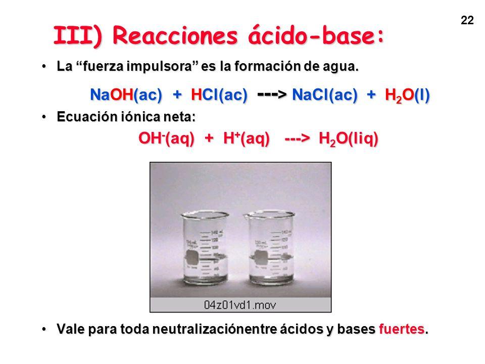 22 La fuerza impulsora es la formación de agua.La fuerza impulsora es la formación de agua. NaOH(ac) + HCl(ac) --- > NaCl(ac) + H 2 O(l) Ecuación ióni