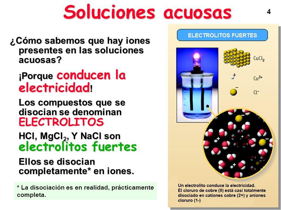 5 HCl, MgCl 2, y NaCl son electrolitos fuertes porque se disocian completamente en iones Soluciones acuosas