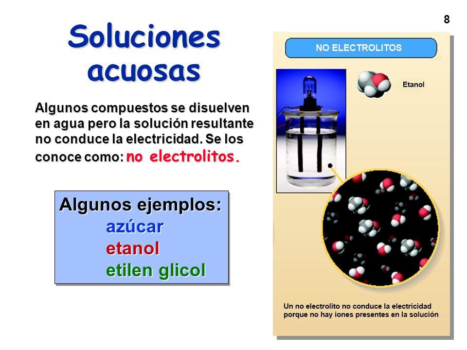 8 Soluciones acuosas Algunos compuestos se disuelven en agua pero la solución resultante no conduce la electricidad. Se los conoce como: no electrolit
