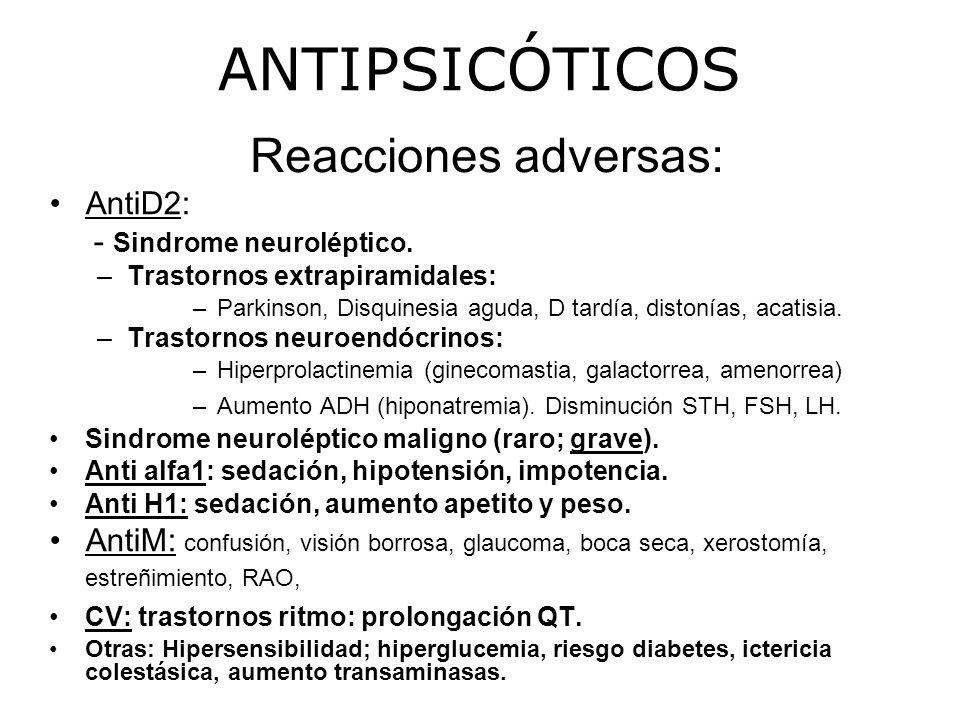 Reacciones adversas: AntiD2: - Sindrome neuroléptico.