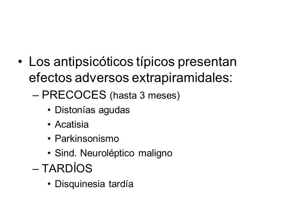 Los antipsicóticos típicos presentan efectos adversos extrapiramidales: –PRECOCES (hasta 3 meses) Distonías agudas Acatisia Parkinsonismo Sind.