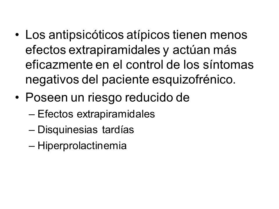 Los antipsicóticos atípicos tienen menos efectos extrapiramidales y actúan más eficazmente en el control de los síntomas negativos del paciente esquizofrénico.