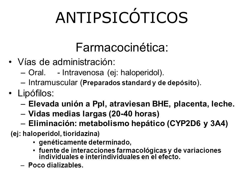 Farmacocinética: Vías de administración: –Oral.- Intravenosa (ej: haloperidol).