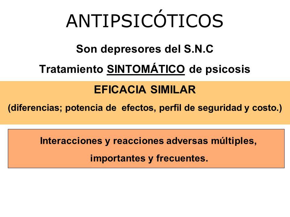 Son depresores del S.N.C Tratamiento SINTOMÁTICO de psicosis EFICACIA SIMILAR (diferencias; potencia de efectos, perfil de seguridad y costo.) ANTIPSICÓTICOS Interacciones y reacciones adversas múltiples, importantes y frecuentes.