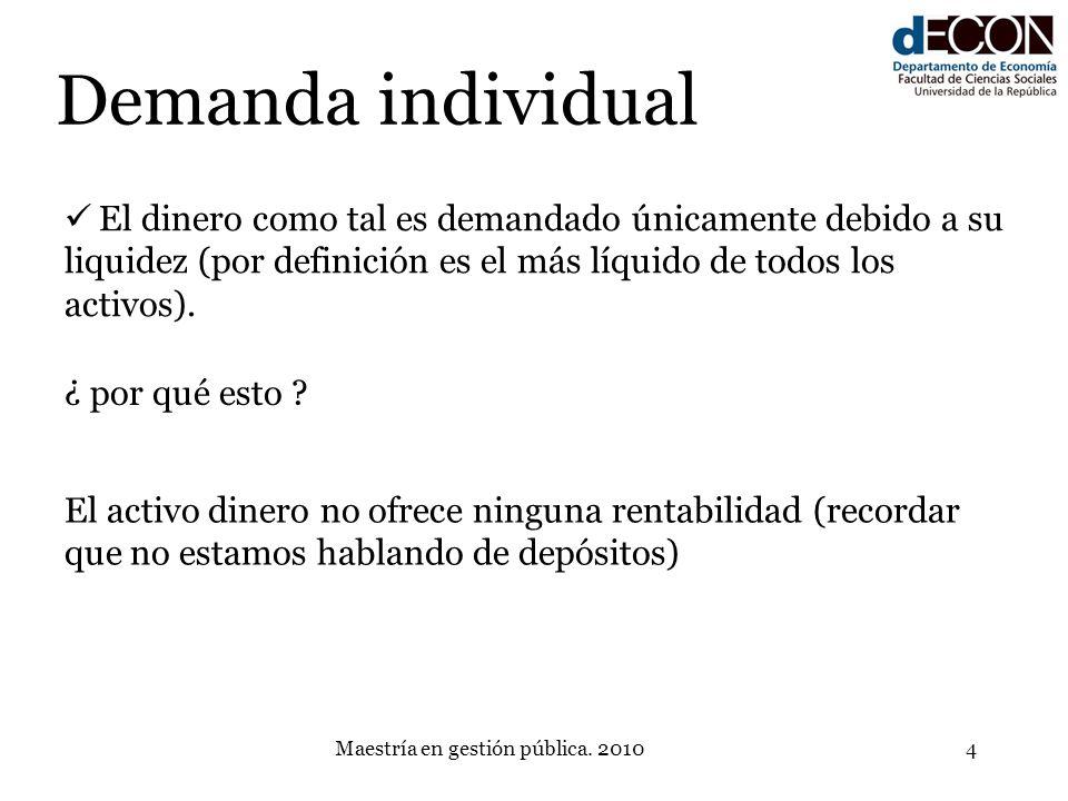 Maestría en gestión pública. 20104 Demanda individual El dinero como tal es demandado únicamente debido a su liquidez (por definición es el más líquid