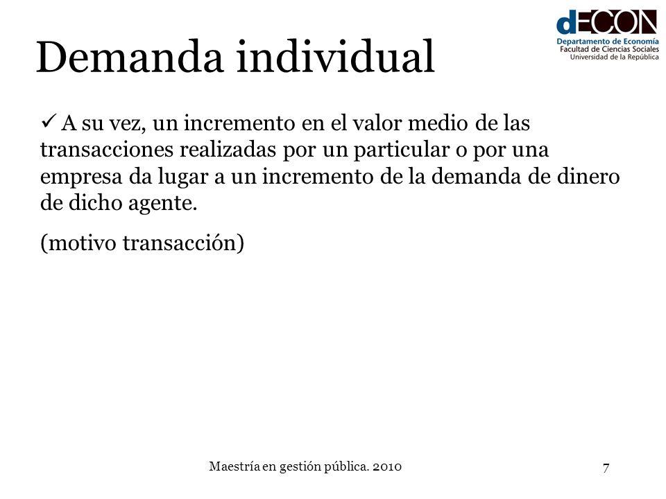 Maestría en gestión pública. 20107 Demanda individual A su vez, un incremento en el valor medio de las transacciones realizadas por un particular o po