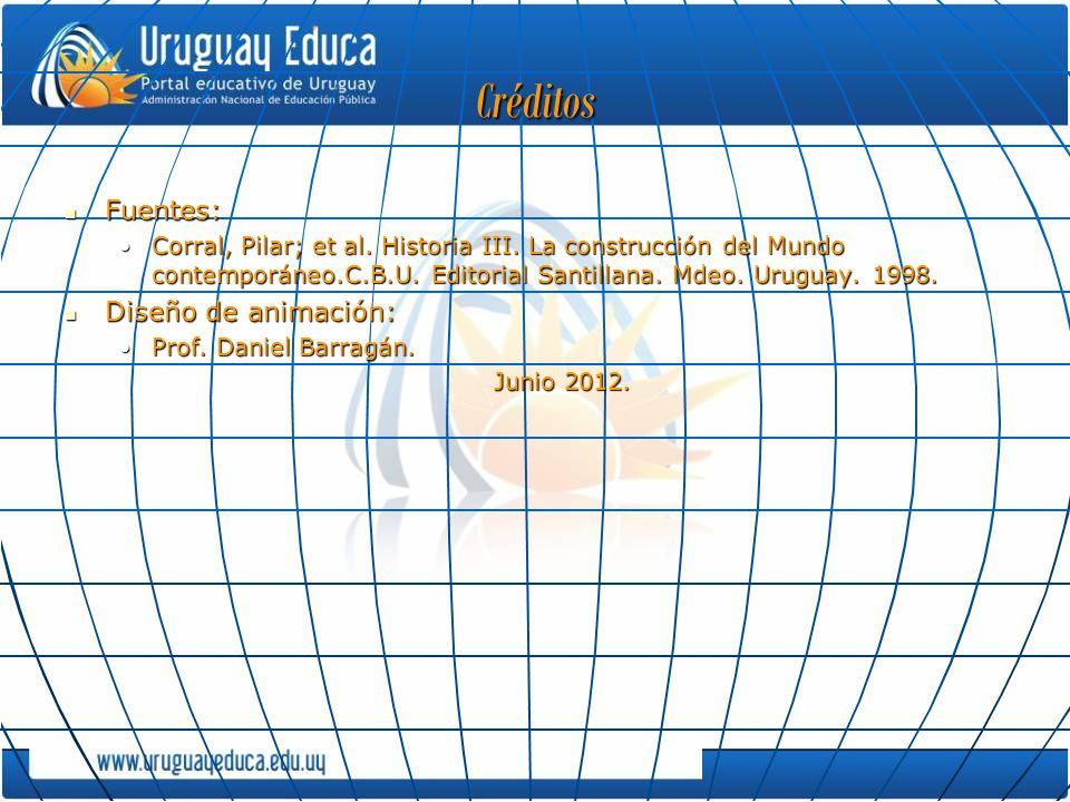 Créditos Fuentes: Fuentes: Corral, Pilar; et al. Historia III. La construcción del Mundo contemporáneo.C.B.U. Editorial Santillana. Mdeo. Uruguay. 199