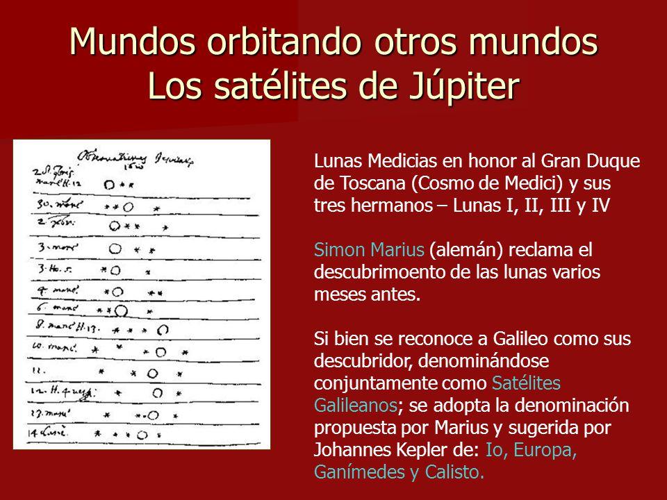 Mundos orbitando otros mundos Los satélites de Júpiter Lunas Medicias en honor al Gran Duque de Toscana (Cosmo de Medici) y sus tres hermanos – Lunas