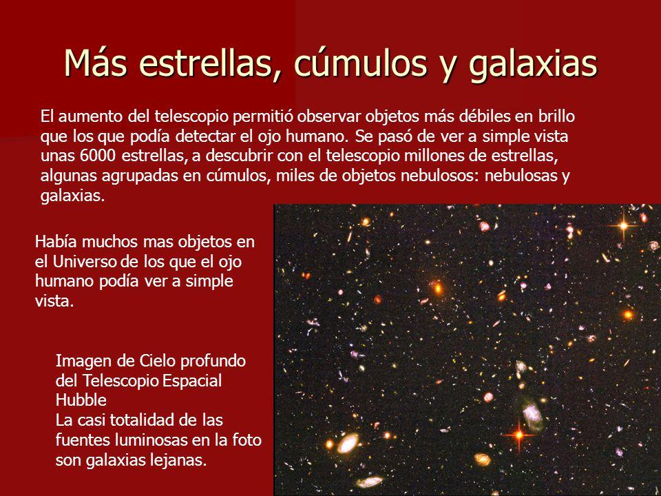 Más estrellas, cúmulos y galaxias El aumento del telescopio permitió observar objetos más débiles en brillo que los que podía detectar el ojo humano.