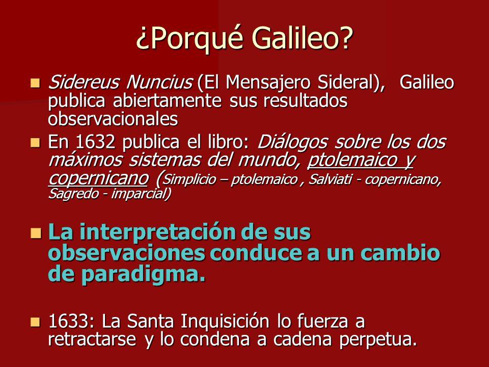 ¿Porqué Galileo? Sidereus Nuncius (El Mensajero Sideral), Galileo publica abiertamente sus resultados observacionales Sidereus Nuncius (El Mensajero S