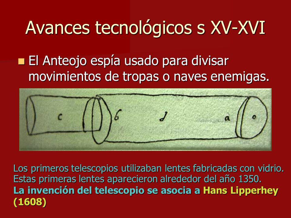 Avances tecnológicos s XV-XVI El Anteojo espía usado para divisar movimientos de tropas o naves enemigas. El Anteojo espía usado para divisar movimien