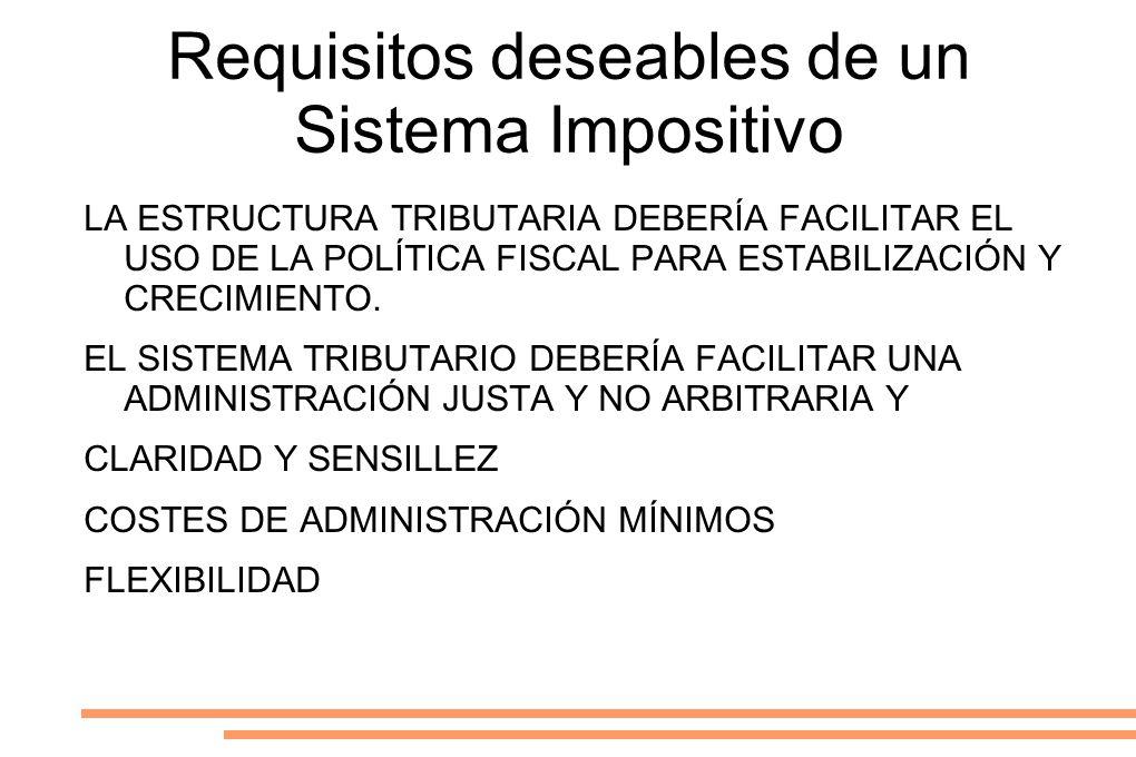 Requisitos deseables de un Sistema Impositivo LA ESTRUCTURA TRIBUTARIA DEBERÍA FACILITAR EL USO DE LA POLÍTICA FISCAL PARA ESTABILIZACIÓN Y CRECIMIENT
