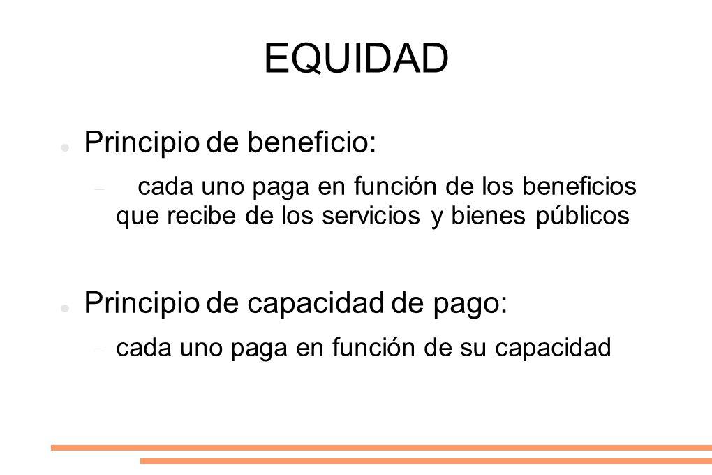 EQUIDAD Principio de beneficio: cada uno paga en función de los beneficios que recibe de los servicios y bienes públicos Principio de capacidad de pag