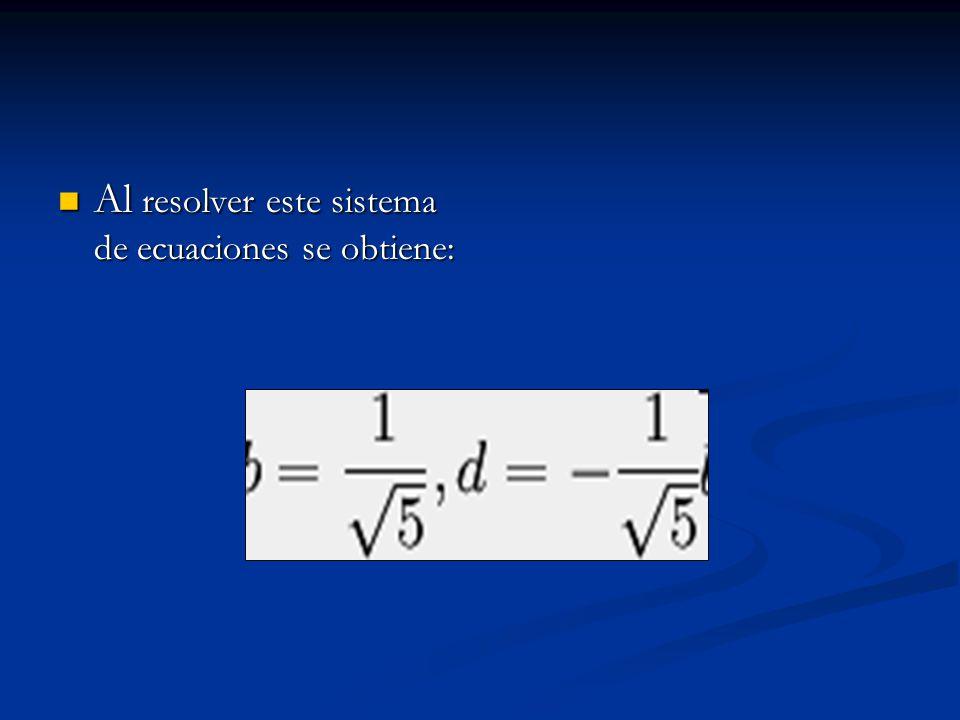 Al resolver este sistema de ecuaciones se obtiene: Al resolver este sistema de ecuaciones se obtiene: