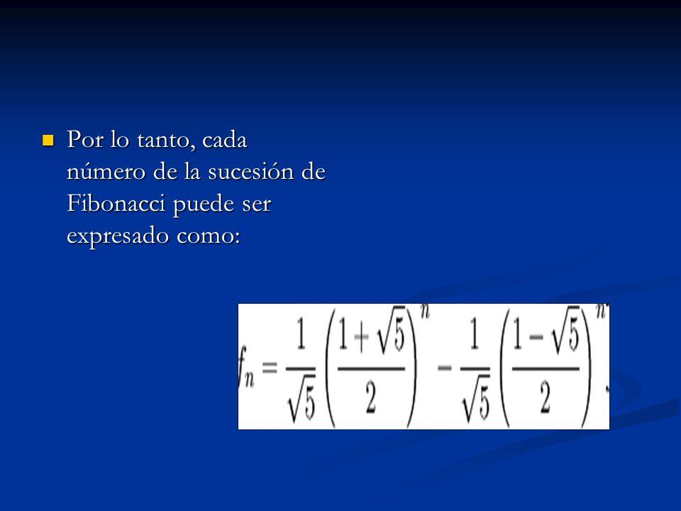 Por lo tanto, cada número de la sucesión de Fibonacci puede ser expresado como: Por lo tanto, cada número de la sucesión de Fibonacci puede ser expres