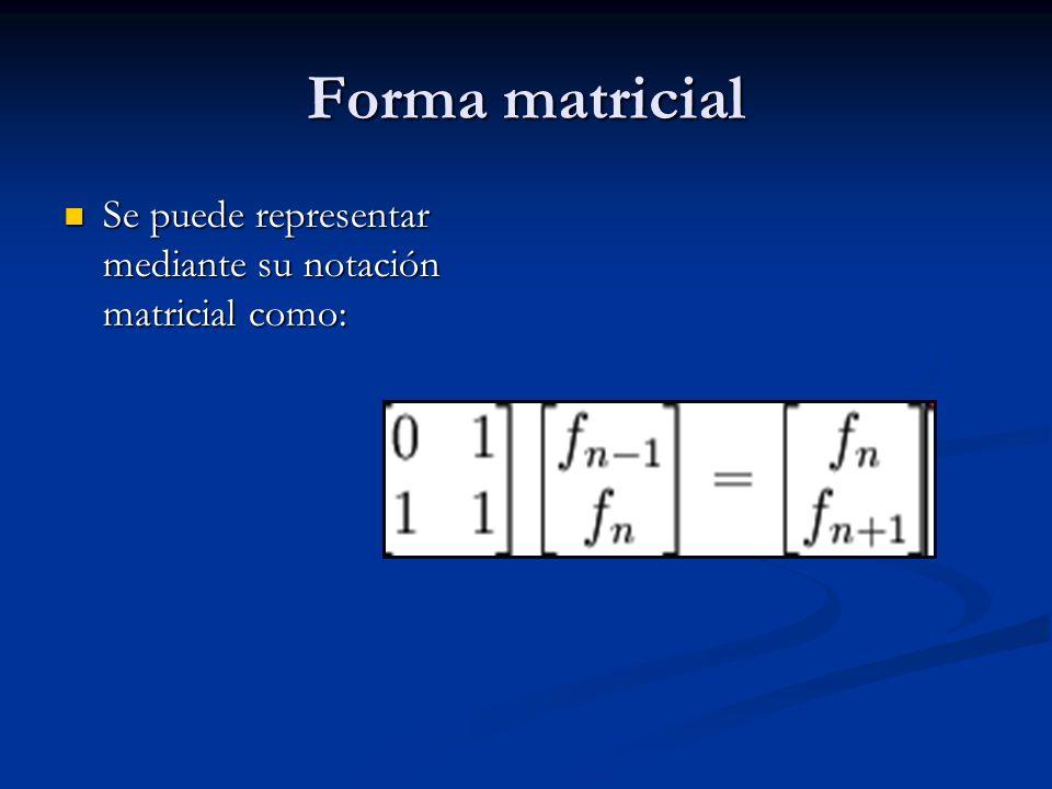 Forma matricial Se puede representar mediante su notación matricial como: Se puede representar mediante su notación matricial como: