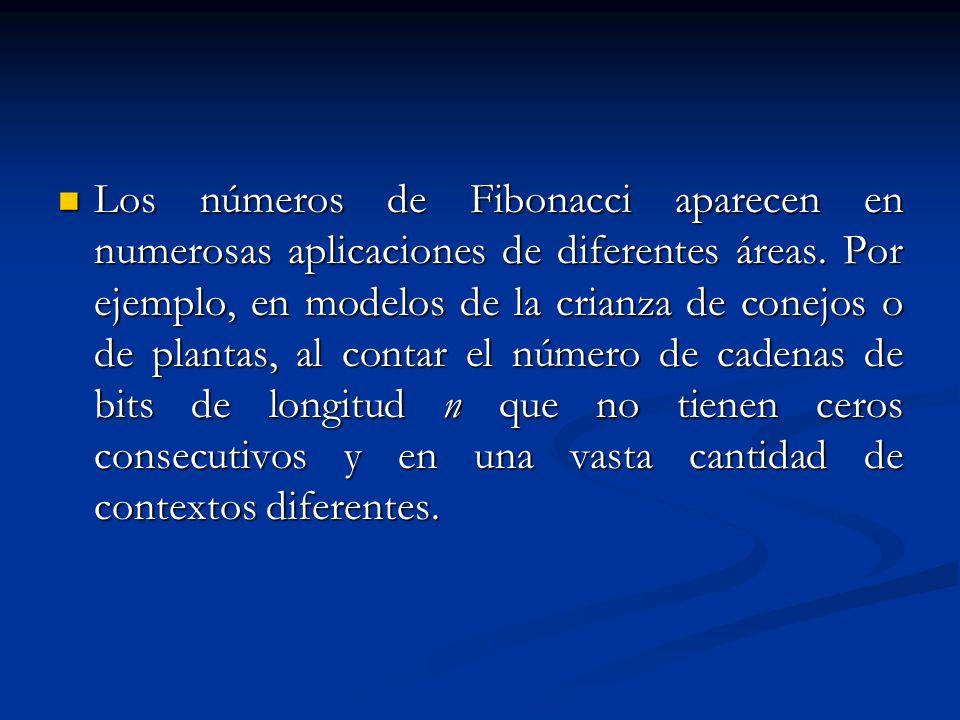 Los números de Fibonacci aparecen en numerosas aplicaciones de diferentes áreas. Por ejemplo, en modelos de la crianza de conejos o de plantas, al con