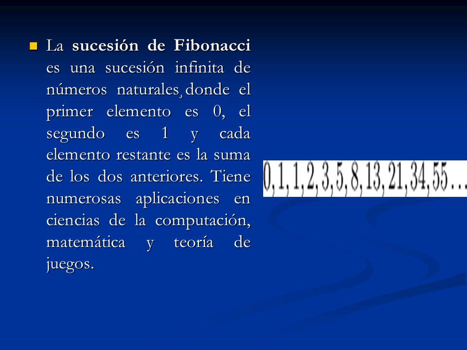 La sucesión de Fibonacci es una sucesión infinita de números naturales¸donde el primer elemento es 0, el segundo es 1 y cada elemento restante es la s