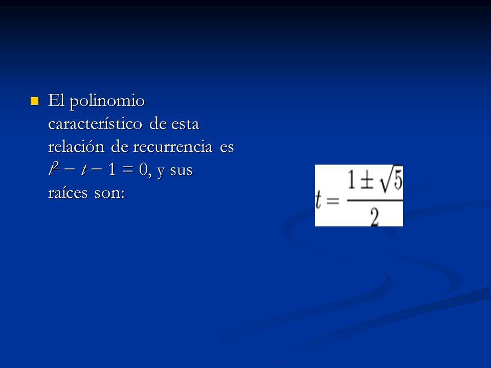 El polinomio característico de esta relación de recurrencia es t 2 t 1 = 0, y sus raíces son: El polinomio característico de esta relación de recurren