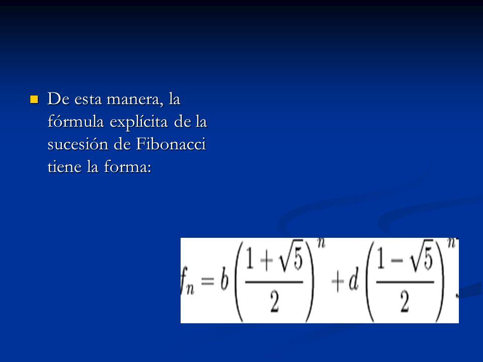 De esta manera, la fórmula explícita de la sucesión de Fibonacci tiene la forma: De esta manera, la fórmula explícita de la sucesión de Fibonacci tien