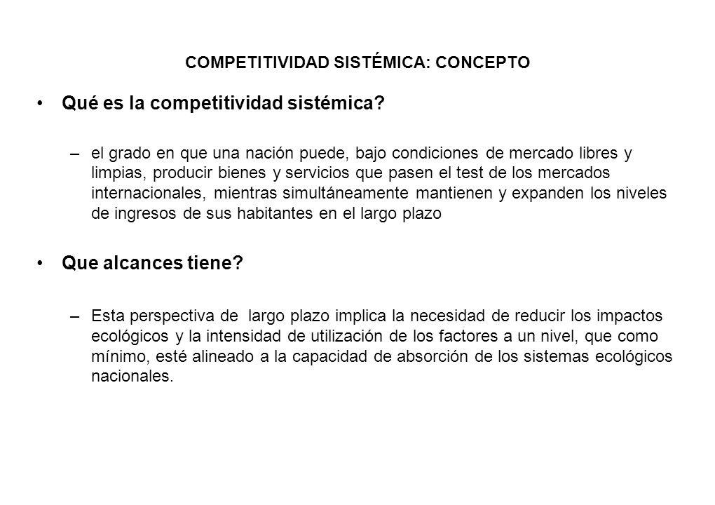 COMPETITIVIDAD SISTÉMICA: CONCEPTO Qué es la competitividad sistémica? –el grado en que una nación puede, bajo condiciones de mercado libres y limpias