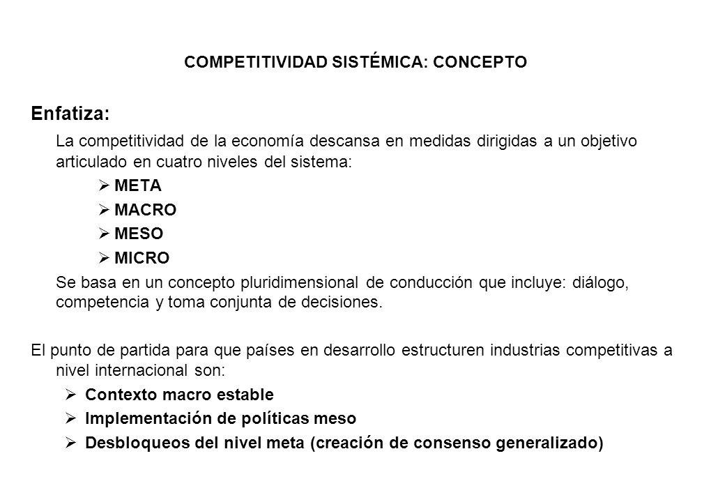 COMPETITIVIDAD SISTÉMICA: CONCEPTO Enfatiza: La competitividad de la economía descansa en medidas dirigidas a un objetivo articulado en cuatro niveles