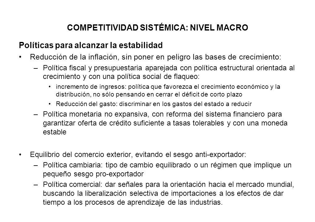 COMPETITIVIDAD SISTÉMICA: NIVEL MACRO Políticas para alcanzar la estabilidad Reducción de la inflación, sin poner en peligro las bases de crecimiento: