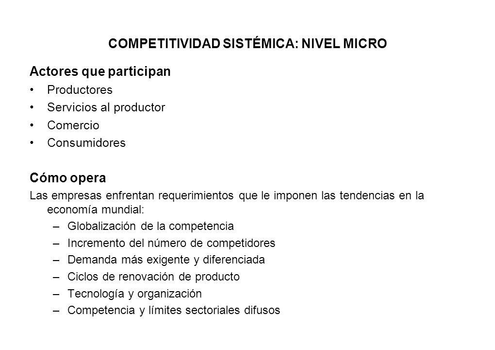 COMPETITIVIDAD SISTÉMICA: NIVEL MICRO Actores que participan Productores Servicios al productor Comercio Consumidores Cómo opera Las empresas enfrenta