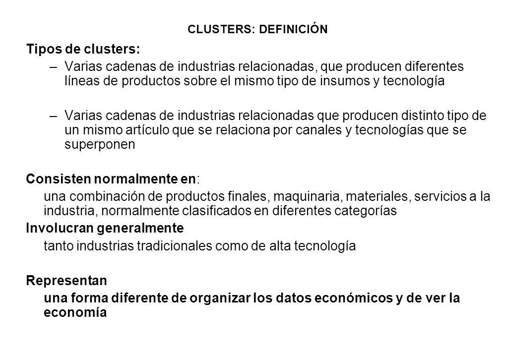 CLUSTERS: DEFINICIÓN Tipos de clusters: –Varias cadenas de industrias relacionadas, que producen diferentes líneas de productos sobre el mismo tipo de