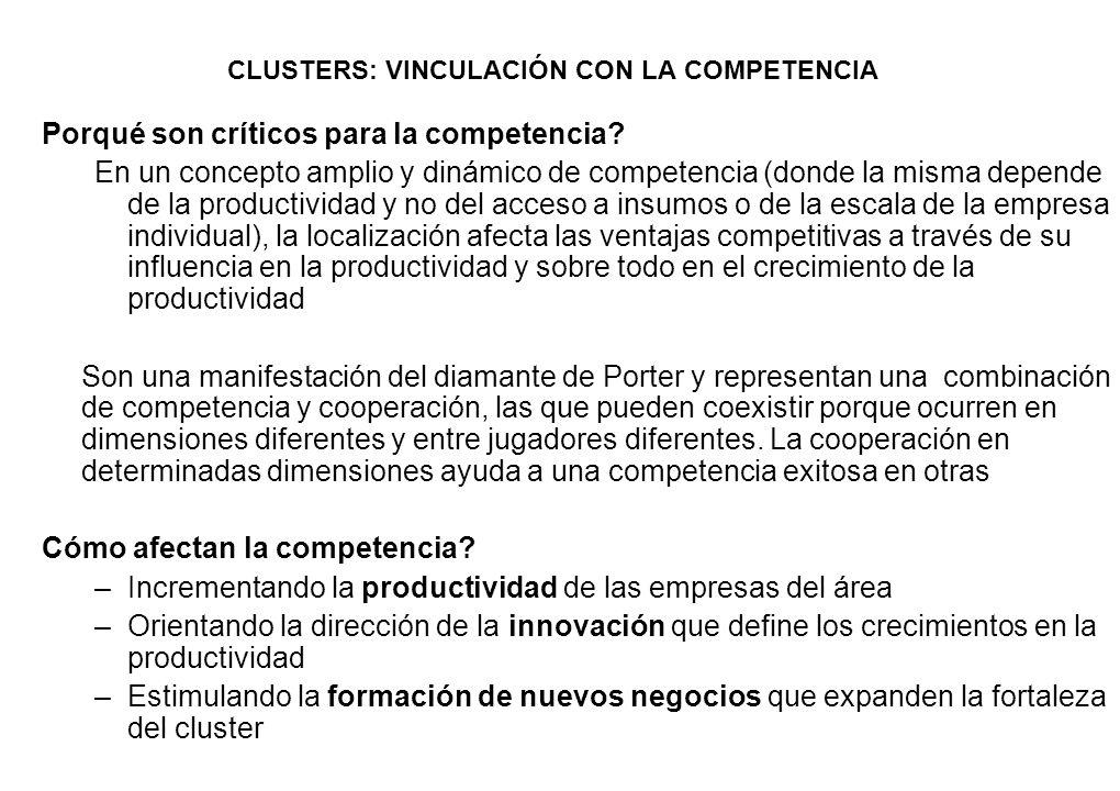 CLUSTERS: VINCULACIÓN CON LA COMPETENCIA Porqué son críticos para la competencia? En un concepto amplio y dinámico de competencia (donde la misma depe