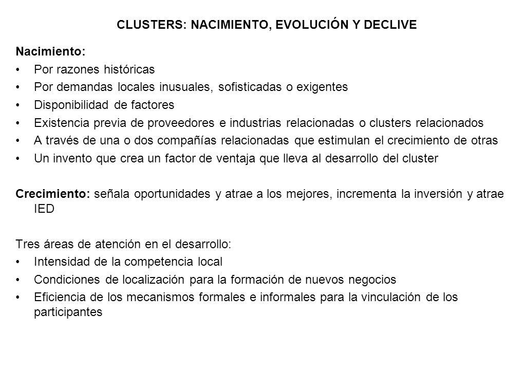 CLUSTERS: NACIMIENTO, EVOLUCIÓN Y DECLIVE Nacimiento: Por razones históricas Por demandas locales inusuales, sofisticadas o exigentes Disponibilidad d