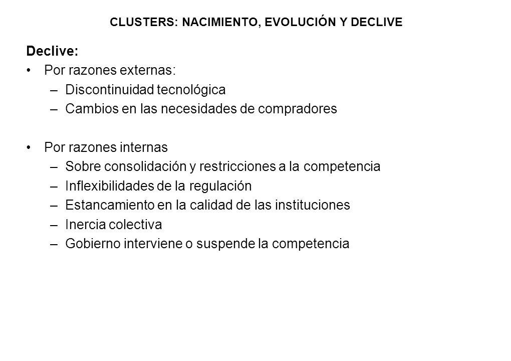 CLUSTERS: NACIMIENTO, EVOLUCIÓN Y DECLIVE Declive: Por razones externas: –Discontinuidad tecnológica –Cambios en las necesidades de compradores Por ra