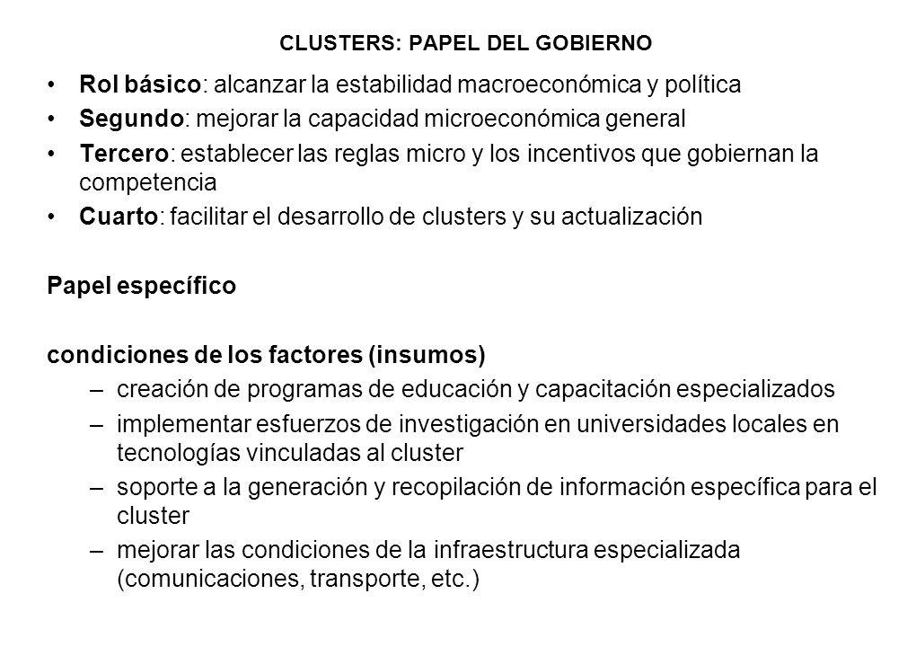 CLUSTERS: PAPEL DEL GOBIERNO Rol básico: alcanzar la estabilidad macroeconómica y política Segundo: mejorar la capacidad microeconómica general Tercer